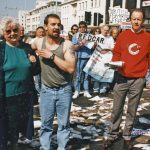 Jim Portus (right), leader of the SWFPO, was a main player in the Save Britain's Fish campaign, and led many protests like this one at Plymouth, dumping fish that would have been discarded at sea on the main road in Plymouth city centre, to highlight the CFP rule of quota management by dumping dead fish at sea.