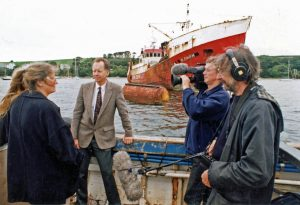 Jim Portus (centre) was interviewed by local television when, almost 30 years ago, the biggest fine to that day was imposed on the Spanish flag of convenience vessel Blenheim. It was also under detention by the MCA, but a few days later slipped away overnight. The vessel, under the name Blenheim, never returned to the UK. It was a hot topic at the time, and local fishermen had daubed Blenheim with graffiti saying 'stop illegal fishing'.