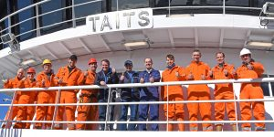 Good to go – the skippers and crew of Taits give the new midwater trawler the thumbs-up, while rigging out for the blue whiting fishery at Fraserburgh. Left to right: George Maitland, Jimmy Buchan, Bob Tait, JC Tait, George Cruden, Peter Tait, Willie Tait, Stephen Rennie, Steven Beagrie, Ewan Scott, Terry Cardno and Lewis Duthie.