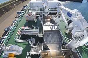 The C-Flow fish dewatering system is positioned in the middle of the forecastle deck amidships.