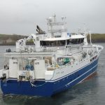 Starboard quarter view of Taits leaving Killybegs to return to the blue whiting grounds…
