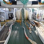 Timber-lined toe-end weight racks serve the central net drums.