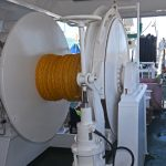 A 50t tail-end winch is positioned forward of the hydraulic pipe reel and 20in Karm fish pump…
