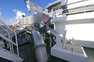 Stainless steel pipes deliver pelagic fish from the C-Flow separator unit directly into the RSW tanks…