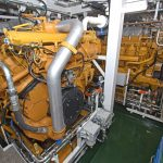… and the two Caterpillar C3512C auxiliary engines that drive 1,644kWe Stamford 440V three-phase generators.