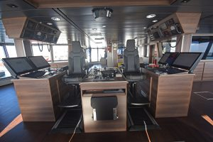 The main fishing and navigation consoles.