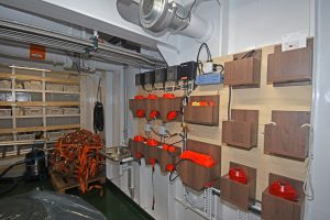 Scanmar sensors and chargers in the deck house off the trawl deck.
