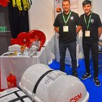 Safe fishing – new safety requirements for over-7m fishing vessels ensured that first-time exhibitors Scott and Kyle Skinner of Blue Anchor Fire and Safety Ltd of Fraserburgh received numerous enquiries about liferafts, PLBs and PFDs.