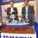 Adenia Zamakona – German Varela and Luis Magro Yovar, from Zamakona shipyard, with a model of the new midwater trawler Adenia, currently being fitted out at Bilbao for Whalsay skipper George Anderson and the Adenia Fishing Company.