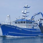 The 22.3m LOA Fruitful Bough is the first of a new design of twin-rig trawler.