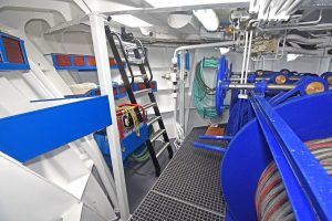 The three-drum trawl winch, supplied by EK Marine of Killybegs, is housed in a dedicated compartment forward.
