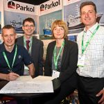 Skipper Robert West signs the contract for Parkol Marine Engineering to build Fruitful Bough at Skipper Expo Int Aberdeen 2018, watched by directors Ian Paton, Sally Atkinson and James Morrison.