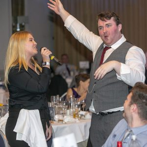 … entertains guests during the Proclaimers' classic 500 Miles
