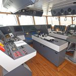 The main navigation and fishing console forward.