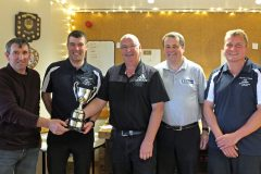 The winning Serene team of Tom Shearer, George William Polson and Robert J Polson (individual champion), with Aubrey Jamieson (Fishermen's Mission) and Graeme Davie (general manager, Pelagia Shetland Ltd).