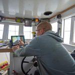 Luke sets up the Furuno FAP-500 autopilot to take Valentine back to Folkestone harbour.
