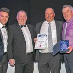 Captain John Forman of category sponsors Peterhead Port Authority, together with compère Des Clarke and Fishing News editor David Linkie, presents the Demersal Fisherman of the Year award to Dave Driver of Brixham.
