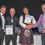 Alasdair MacLean (static) and Jamie Clarke (mobile) receive their Shellfisherman of the Year awards.