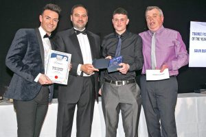 Craig McBurnie of sponsor Sunderland Marine with Trainee Fisherman of the Year award winner Gavin Burnett (Ocean Endeavour PD 625). (Rory Brickley (Victory Rose WY 34) not available.)