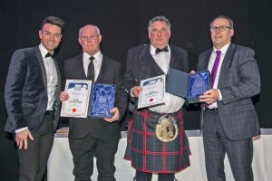 David Fraser and Mike Montgomerie receive their Lifetime Achievement Awards from Mike Park of category sponsor Box Pool Solutions Ltd.