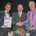 Stephen Buchan from Peterhead Fish Company is presented with the Independent Fresh Fish Retailer of the Year award.