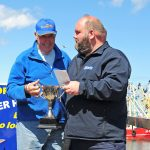 Perennial award-winner Dennis Kimble picks up the Watermota Cup for the first-placed crabber with his 6m-long Golden Spray.