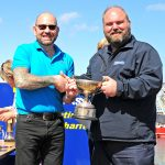 Margaret of Ladram skipper Adam Cowan-Dickie collecting the Prince of Wales Cup for the second-placed beamer.