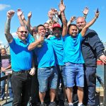 The crew of Margaret of Ladram celebrate again receiving the award for being Brixham's highest-grossing boat.