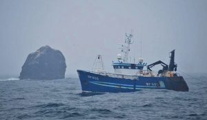 The Banff trawler Carina towing at Rockall. (Photo: Sean Glackin)