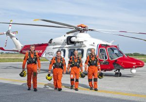 The four-man crew of the Leonardo AW189 SAR helicopter. Left to right: co-pilot Captain Simon Tye, Captain David Gibbs, winchman/paramedic Shawn Clark and winch operator Alex Brown.