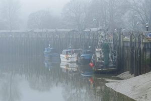 Local fishing boats Carolyn RX 91, Nicole B RX 390 and K G One RX 443, alongside at Rye on a foggy morning.