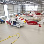 HM Coastguard's new hangar, home to its two Leonardo AW189 SAR rescue helicopters.