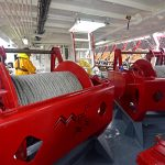 The main 20t split trawl winches are mounted forward on the main deck.