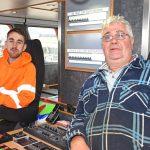 Skipper Ian Taylor and his son/mate Rhys Taylor in Eternal Light's wheelhouse.