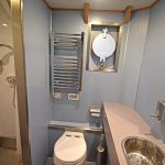 The toilet and shower compartment is positioned centrally in Eternal Light's deck house.
