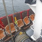 The dredges ready to be lifted over the side again, using the Gilson winch mounted on the shelterdeck.