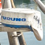 Furuno radar housing melted by the heat of the fire.