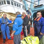 Roger Gee tells Holly Anne's crew what the MCA surveyors will be inspecting and observing.