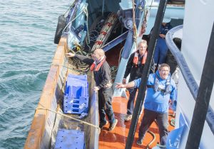 Holly Anne's crew practise an MOB drill, with Roger Gee watching over the proceedings.