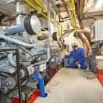 The MCA surveyors check the Mitsubishi S12A2-Z3MPTAW-3 engine...