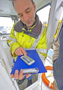 MCA surveyor Steve Chandler checking Déjà Vu's SafetyFolder…