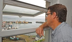 Paul Trebilcock looks over the Newlyn fleet from the CFPO office.