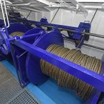 A large-capacity three-drum winch, manufactured in-house by the yard, is housed in a dedicated winch room forward on the main deck.