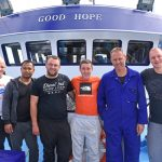 Ready for Good Hope's maiden trip – left to right: James Simpson, Rene Boy, Ryan Buchan, David McLean, Willie Farquhar and John Watt.