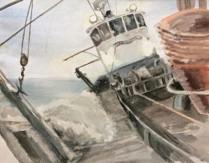 Larry's watercolour of what it was like working on the Keriolet – 'one of the finest boats ever', he said.