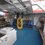 General view of the main split trawl winches and working arrangements on the main deck under the shelterdeck walkway.