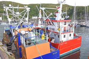 White Eagle berthed outside Silver Fern at Mallaig – the two new scallopers represent a major boost for the Western Isles.
