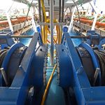 Macduff Shipyards supplied the split trawl winches mounted forward on the main deck…