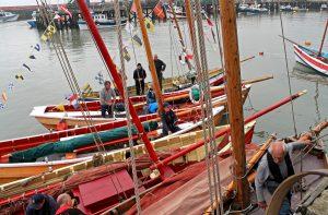 Sailing cobles alongside Harbour Road.