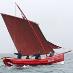 The visiting sailing coble Royal Diadem II going well.